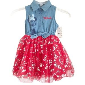 Disney Minnie Mouse NWT Toddler Sleeveless Tie Front Dress Tulle Stars Skirt 2T